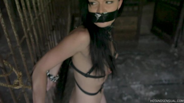 Bound gagged video with skinny russian brunette